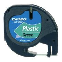 dymo etiketes letratag plastic tape green 12mm x 4m 91224 s0721690 photo