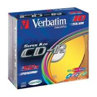 verbatim cd r 700mb 80min 52x colour 10pcs slim case photo