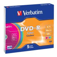 verbatim dvd r 47gb 16x colour slim case 5pcs photo
