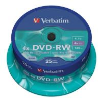 verbatim 43639 4x dvd rw 47gb spindle 25pcs photo
