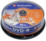 verbatim mini dvd r 8cm inkjet white 4x cb 10pcs 146gb photo
