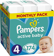 PAMPERS ACTIVE BABY NO4 (9-14KG) 174 TMX MONTHLY PACK