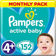 PAMPERS ACTIVE BABY NO4+ (MAXI 10-15KG) 152 TMX MONTHLY PACK