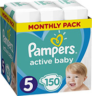 PAMPERS ACTIVE BABY NO5 (11-16KG) 150 TMX MONTHLY PACK