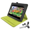 trust 19113 premium folio stand in ear headphone for ipad grey lime extra photo 1