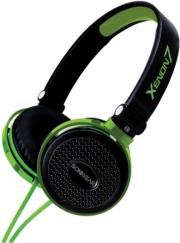 sonicgear xenon 7 wired headset with mic black green photo