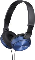 sony mdr zx310l lightweight folding headband type headphones blue photo