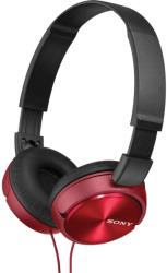 sony mdr zx310r lightweight folding headband type headphones red photo