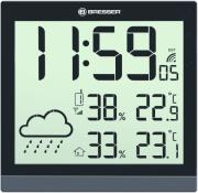 bresser temeotrend jc black lcd weather wall clock black 7004404 photo