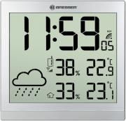bresser temeotrend jc silver lcd weather wall clock silver 7006404 photo