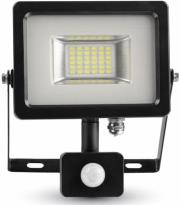 v tac 5697 20w led sensor floodlight black grey body smd 3000k photo