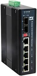 level one ies 0620 industrial gigabit ethernet switch 4x 8023af at poe 1 sfp 1 combo photo
