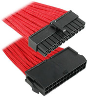 bitfenix 24 pin atx extension 30cm sleeved red black photo