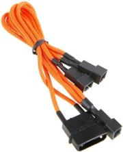 bitfenix molex to 3x 3 pin 7v adapter 20cm sleeved orange black photo