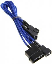 bitfenix molex to 3x 3 pin adapter 20cm sleeved blue black photo
