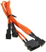 bitfenix molex to 3x 3 pin adapter 20cm sleeved orange black photo