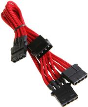 bitfenix molex to 3x molex adapter 55cm sleeved red black photo