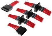 bitfenix molex to 4x sata adapter 20cm sleeved red black photo