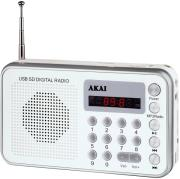 akai dr002a 521 usb portable radio silver white photo