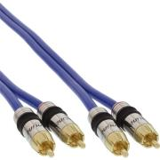 inline rca audio cable gold plated plug 2xrca 05m photo
