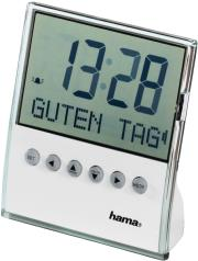 hama 104955 message travelling alarm clock white photo