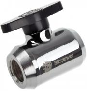 bitspower mini valve with black handle 1 4 inch shiny silver photo
