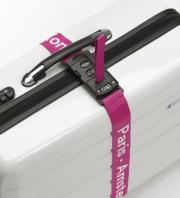 luggage mate lock strap with integrated scale magenta photo