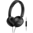 philips shl5005 00 on ear flat folding headphones with mic black photo