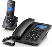 motorola c4201 combo ensyrmato dect cordless phone black photo