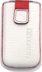 leather pouche aniline case white red sew gia nokia x3 02 touch and type photo