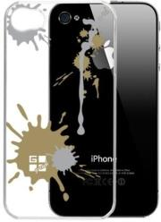 g cube a4 gpps 4g premium clear back shell for iphone 4 paint splash gold photo