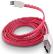 forever usb cable for apple iphone 5 6 7 pink silicone flat box photo