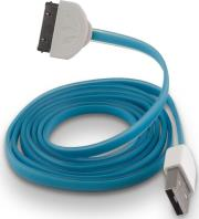 forever usb cable for apple iphone 3 4 blue silicone flat box photo