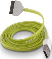forever usb cable for apple iphone 3 4 green silicone flat box photo