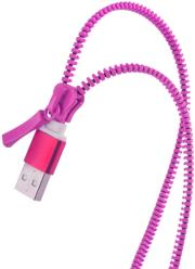 forever 2in1 usb zipper cable with micro usb lightning for apple iphone 5 6 pink photo