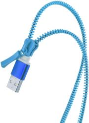 forever 2in1 usb zipper cable with 2x micro usb blue photo