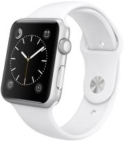 apple watch sport 42mm silver aluminum case with white sport band photo